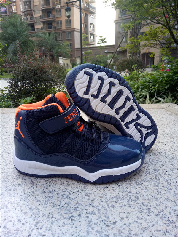 New Kids Jordan 11 Retro Sea Blue Orange White Shoes
