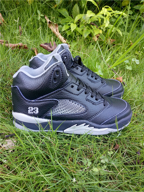 New Kids Jordan 5 Retro Black White Shoes