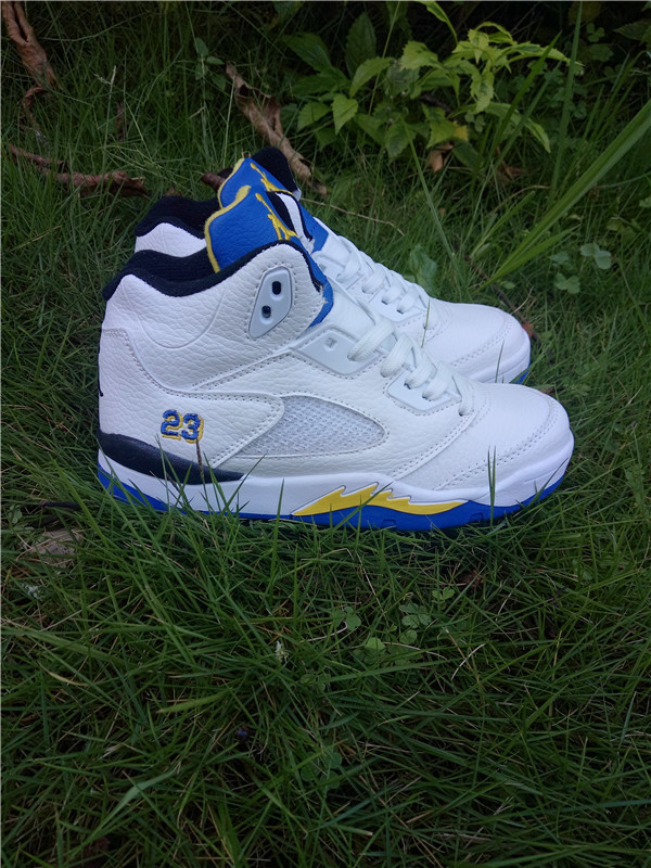 New Kids Jordan 5 Retro White Blue Yellow Shoes
