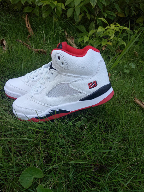 New Kids Jordan 5 Retro White Red Black Shoes