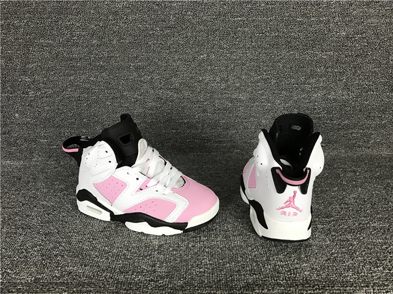 New Kids Jordan 6 Retro White Pink Black Shoes