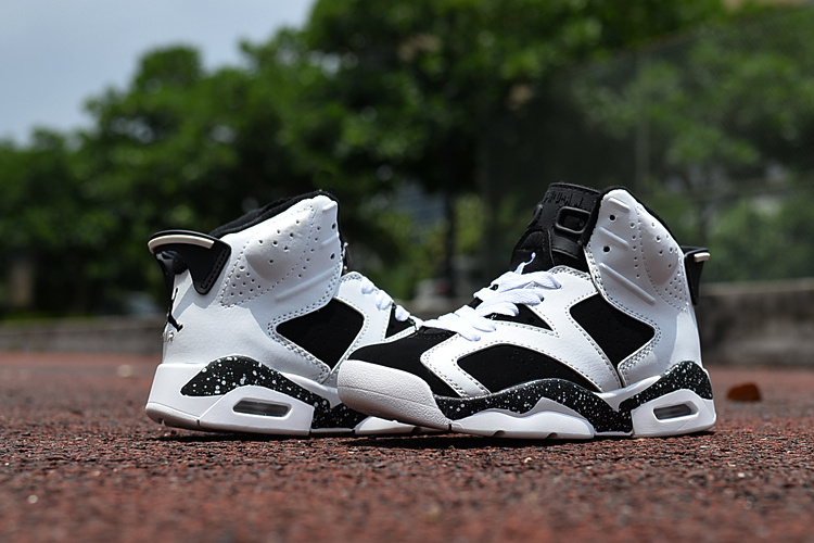 New Kids Jordan 6 Retro Black White Shoes