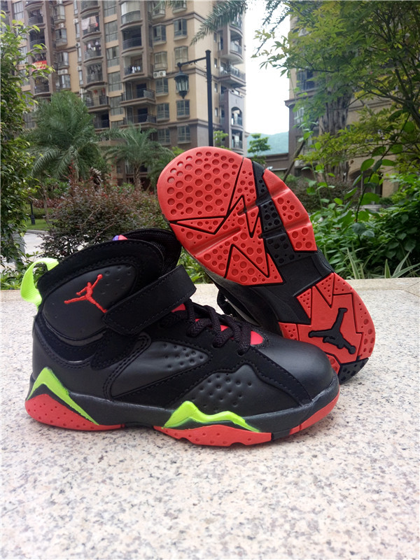 New Kids Jordan 7 Retro Black Red Green Shoes
