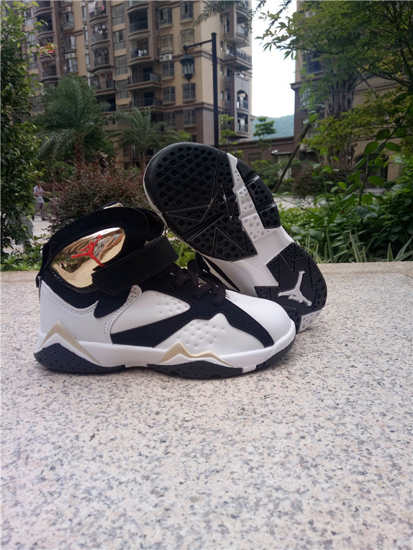 New Kids Jordan 7 Retro Black White Gold Shoes