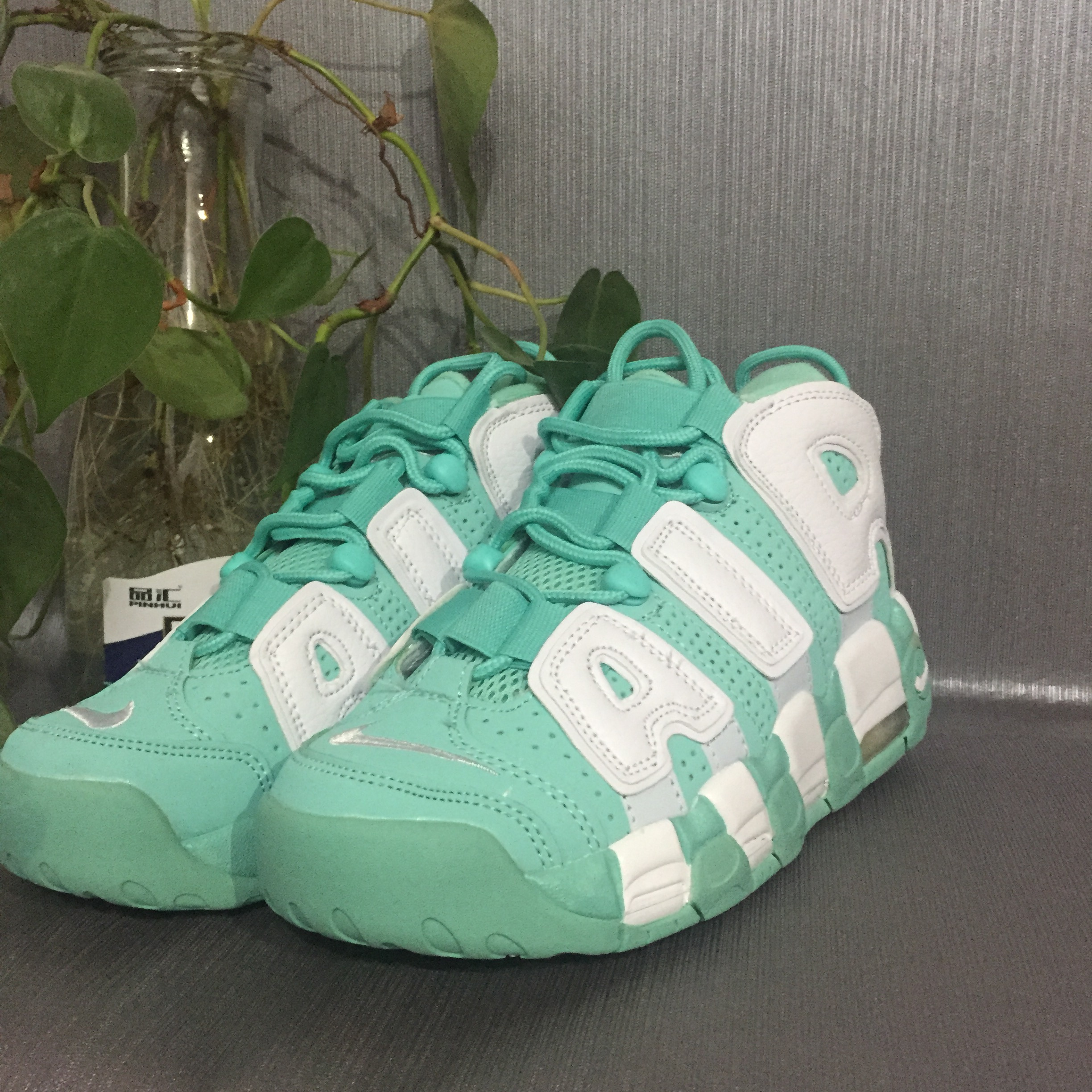 Nike Air More Uptempo White Green Shoes For Women