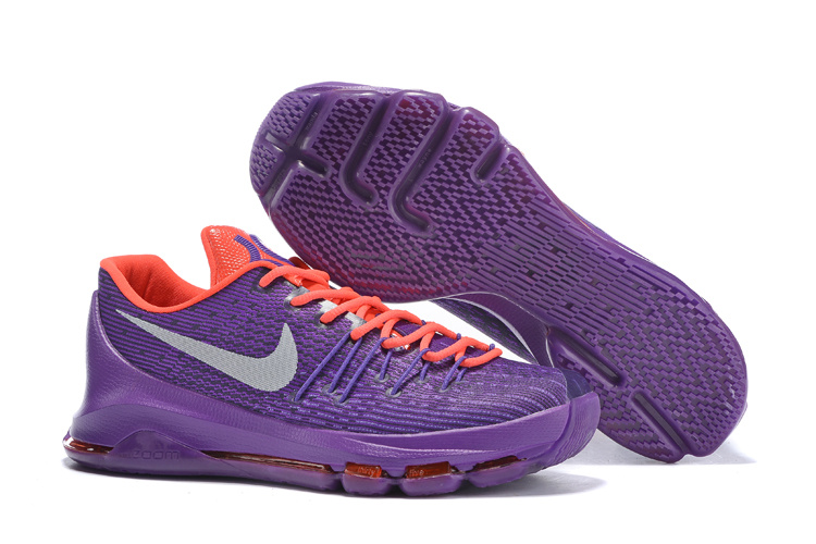 Nike KD 8 Electric Purple Wolf Grey Bright Cirmson Basketball Shoes