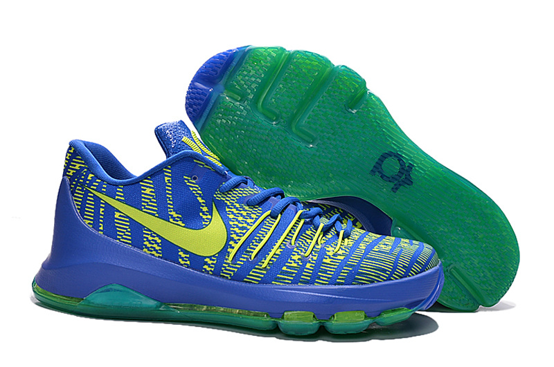 Nike KD 8 GS Hyper Cobalt Volt Green Strike Vivid Purple Bright Crimson 768867 400 Basketball Shoes