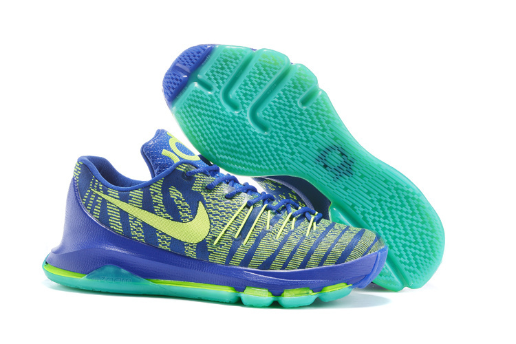 Nike KD 8 Hyper Cobalt Volt Green Strike Vivid Purple Bright Crimson Basketball Shoes