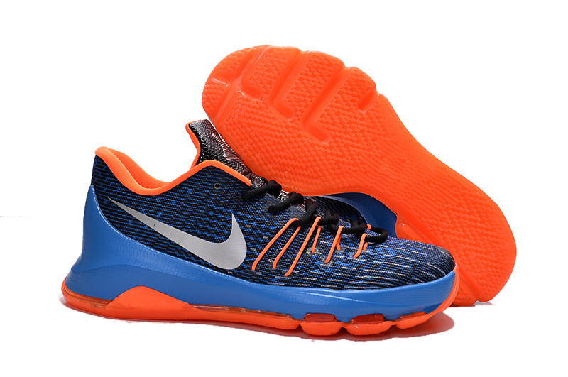 Nike KD 8 Midnight Navy Orange Royal Blue 749375 711 Basketball Shoes