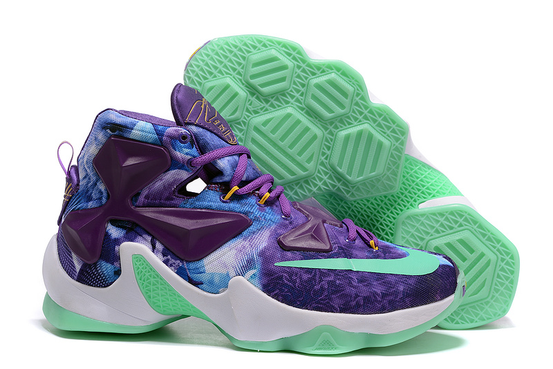 Nike Lebron 13 Galaxy Electric Purple White Green Glow