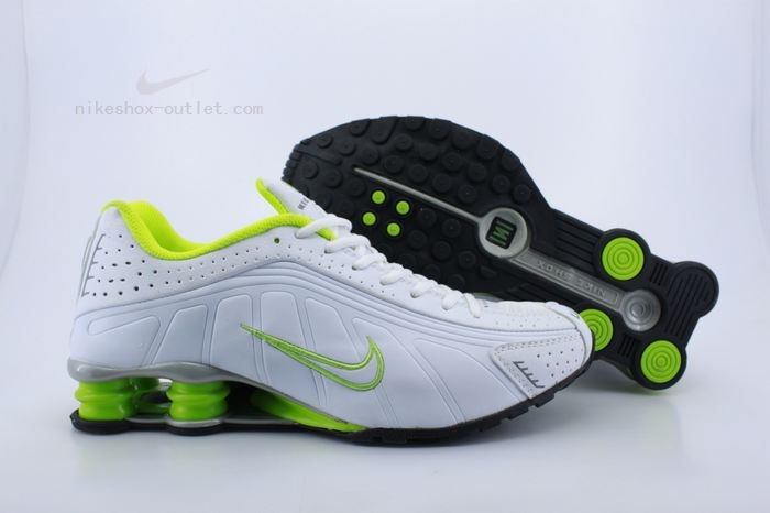 Nike Shox R4 mens all white green