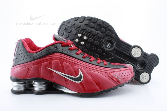 Nike Shox R4 mens red black shoes