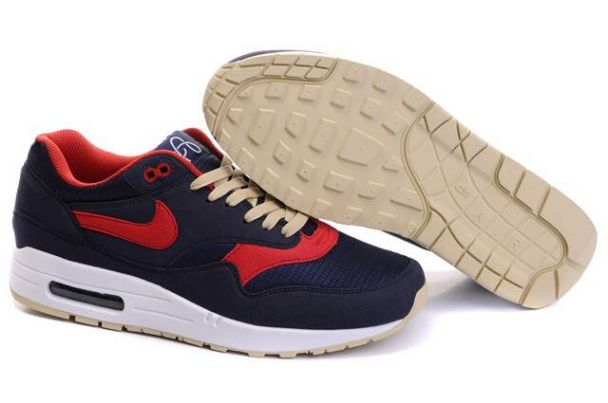 Nike Air Max 1 Men Omega Obsidian/Sport Red Tan M1H006