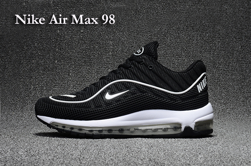 2017 Men Air Max 98 Black White Line Shoes