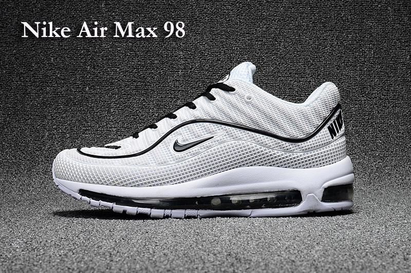 2017 Men Air Max 98 White Black Shoes
