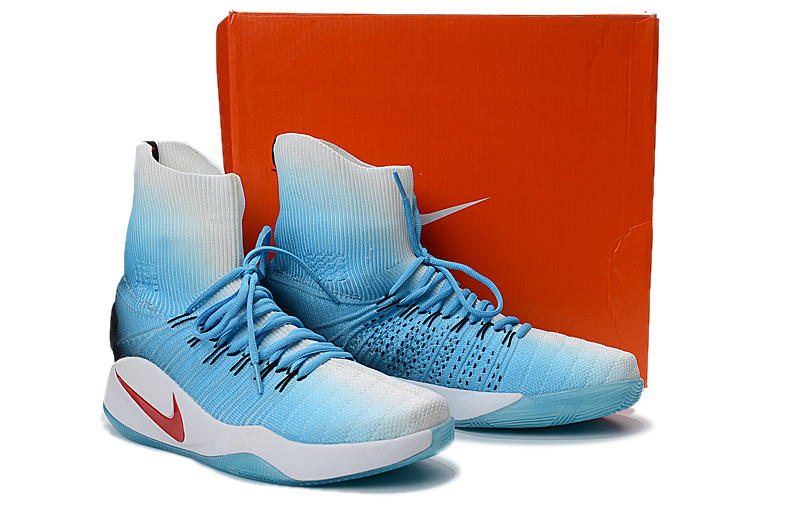 Nike Hyperdunk 2016 High Flyknit Blue White Red Shoes