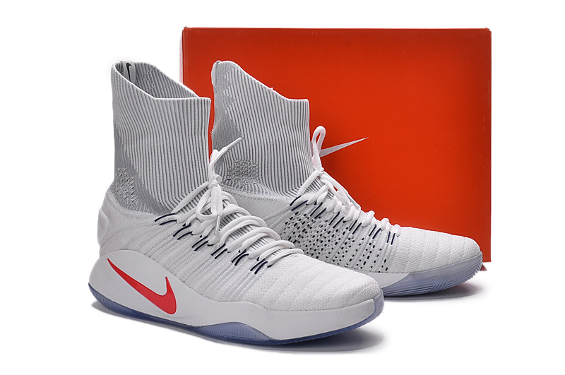 Nike Hyperdunk 2016 High Flyknit White Grey Red Shoes