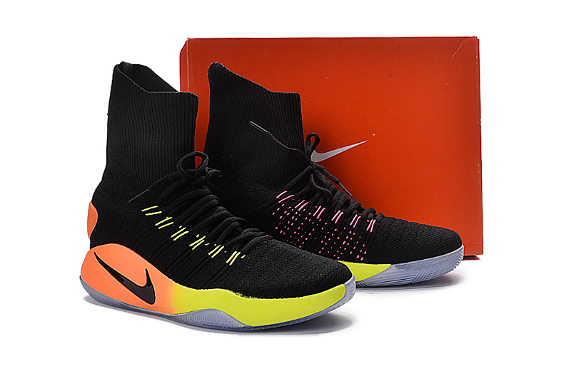 Nike Hyperdunk Flyknit Black Colorful Shoes