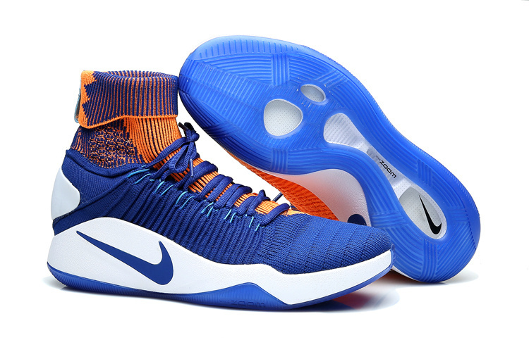 Nike Hyperdunk Flyknit Blue Orange White Shoes