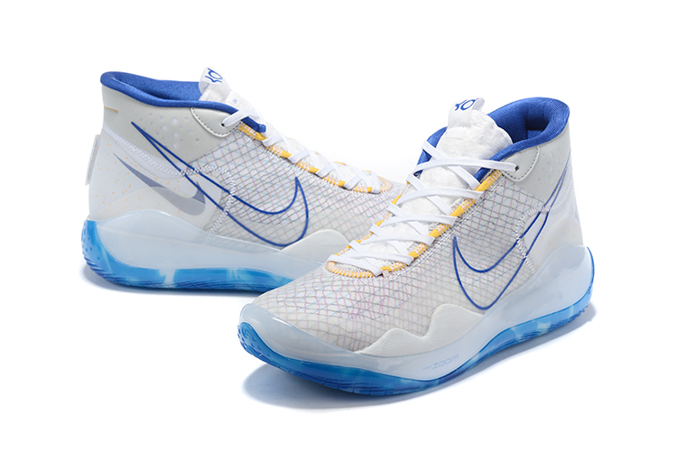 Nike KD 12 White Blue Yellow Shoes