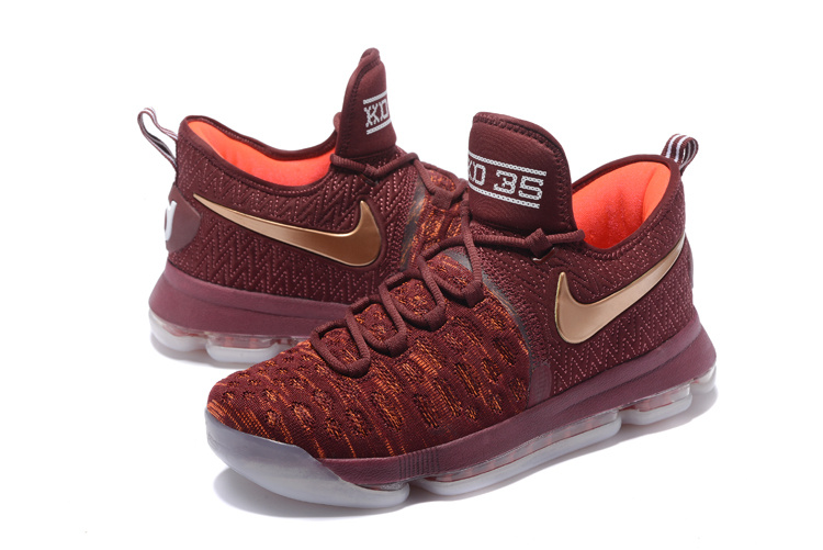 Nike KD 9 Wine Red Gold Shoes