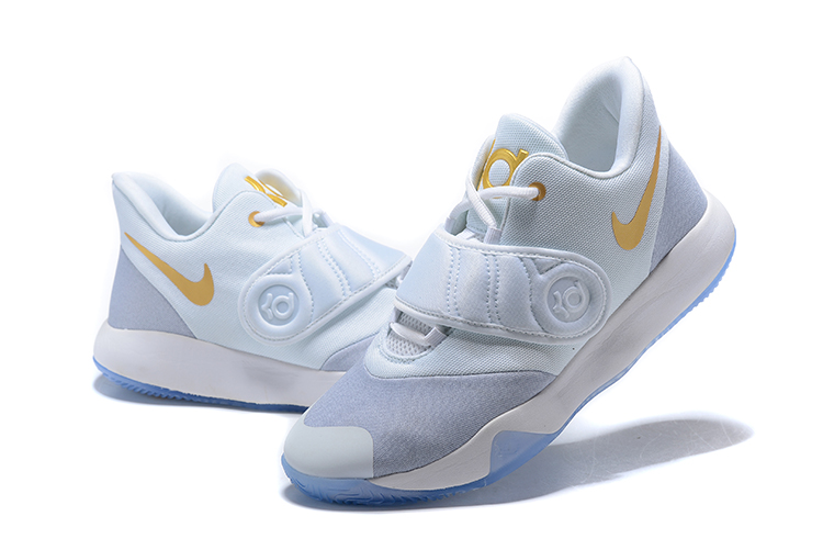 2020 Nike KD Trey 5 VI White Metallic Gold Grey Shoes