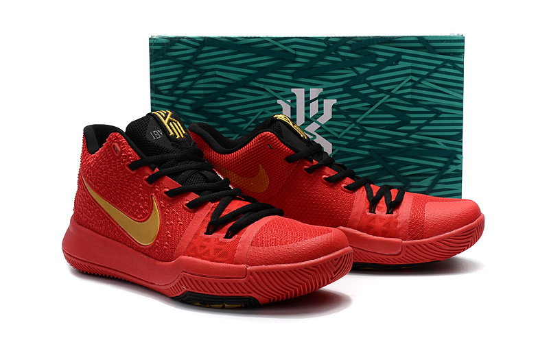 Nike Kyrie 3 Red Black Gold Shoes For Women
