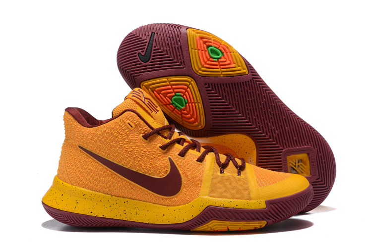 Nike Kyrie 3 Yellow Wine Red Basketball Shoes