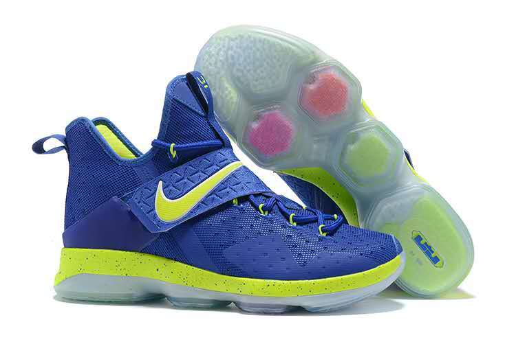 Nike Lebron 14 Blue Fluorscent Green Shoes