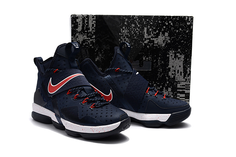 Nike Lebron 14 Deep Blue Red White Shoes