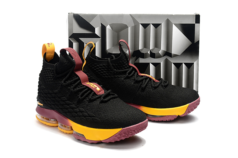 Nike Lebron 15 Black Wine Red Yellow Shoes