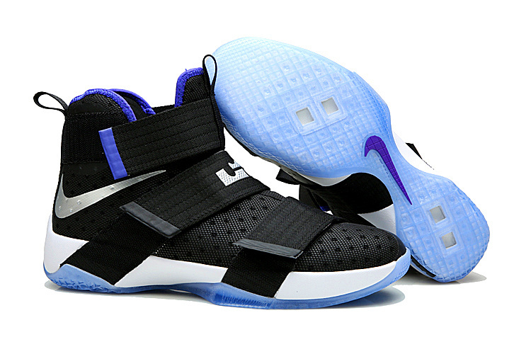 Nike Lebron Soldier 10 Black Blue Sole Shoes