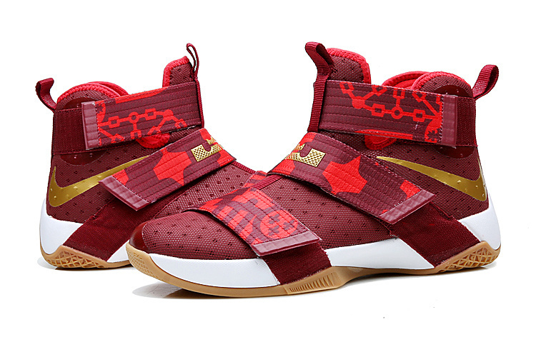 Nike Lebron Soldier 10 Chinese Red Gold White Shoes