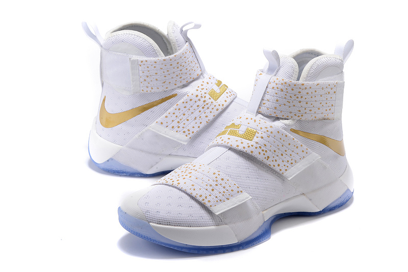 Nike Lebron Soldier 10 White Gold Point Shoes