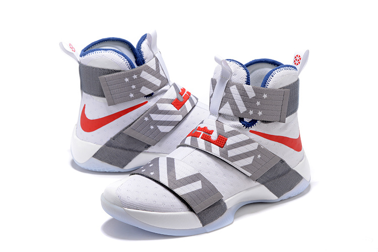 Nike Lebron Soldier 10 White Grey Red Shoes