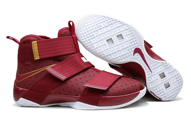 Nike Lebron Soldier 10 Wine Red Gold Shoes