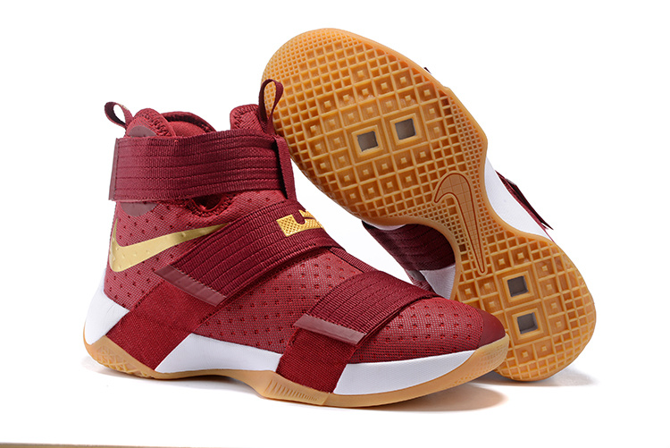 Nike Lebron Soldier 10 Wine Red Gold White Yellow Shoes