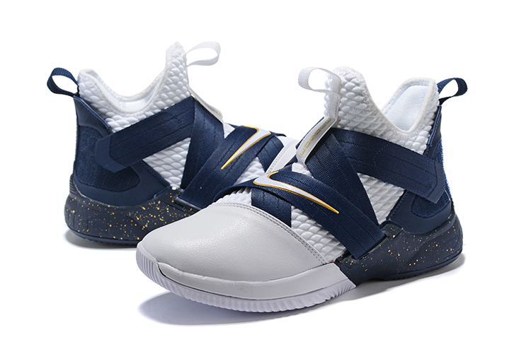 Nike Lebron Solider 12 Blue White Gloden Shoes