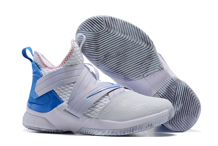 Nike Lebron Solider 12 White Blue Shoes
