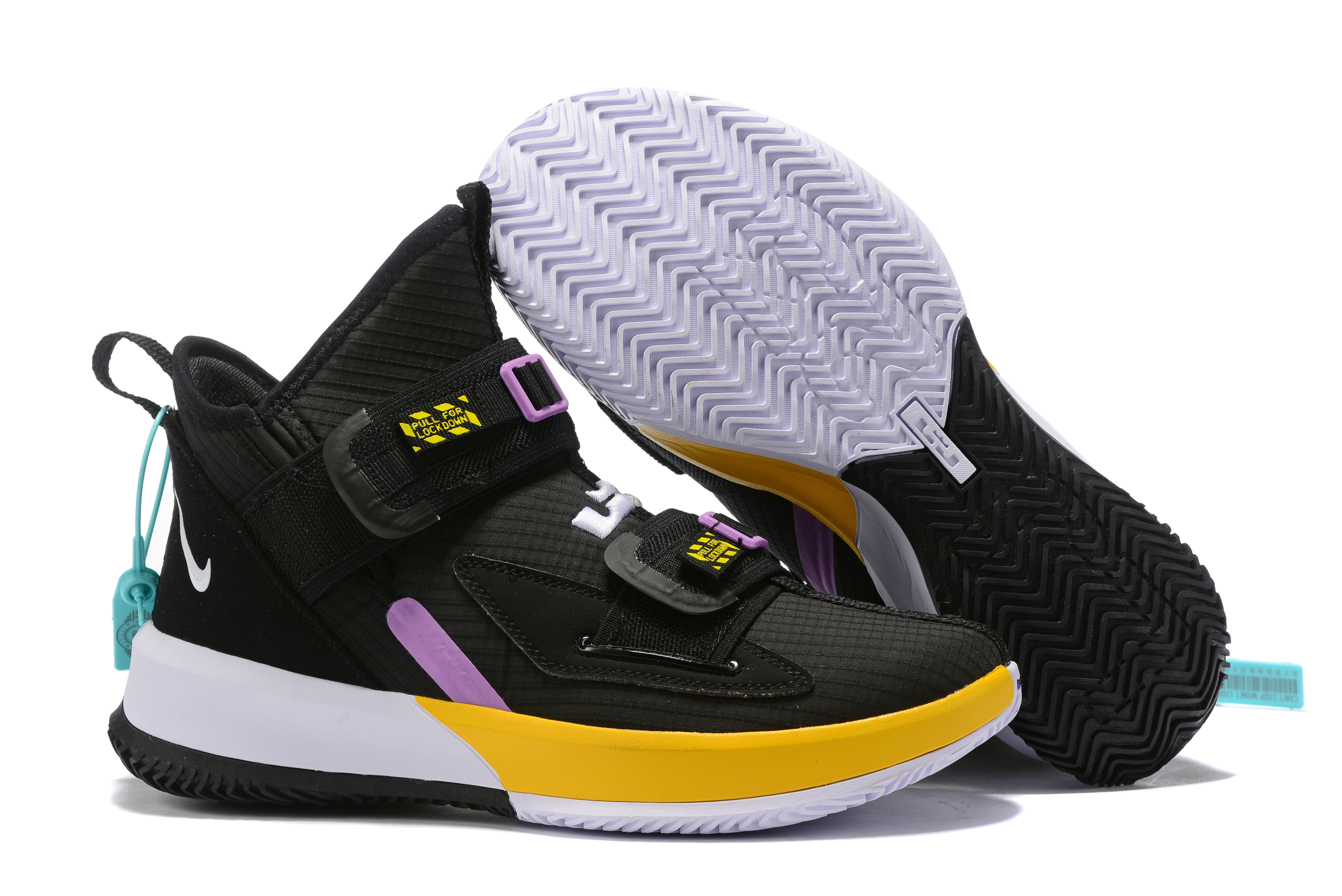 Nike Lebron Solider 13 Black Yellow Purple Shoes