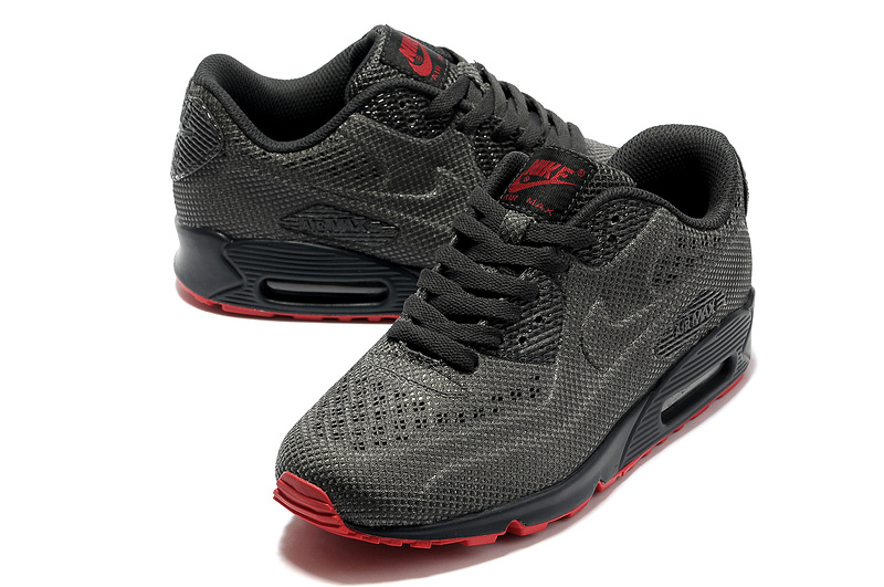 Nike Air Max 90 Net Cloth Men Black Orange red Fashion