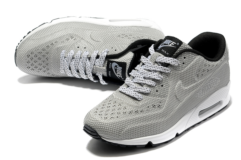 Nike Air Max 90 Net Cloth Men Silver Black Cheap UK