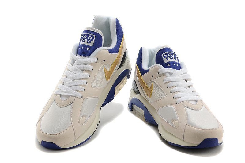 Hot Nike Air Max 180 Men White Ivory White Golden Blue