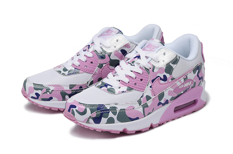 Nike Air Max 90 Camouflage Women White Pink Blue Camouflage Auth