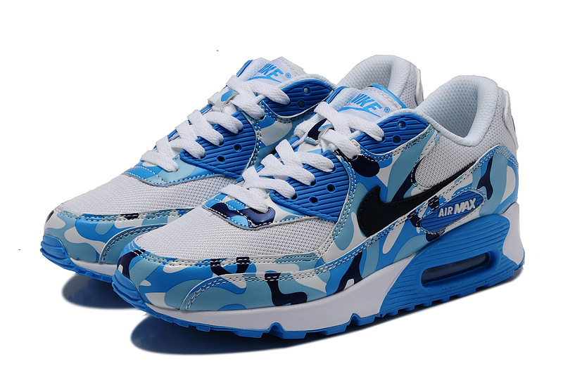 Nike Air Max 90 Camouflage Women White Moon blue Deep Blue Camou
