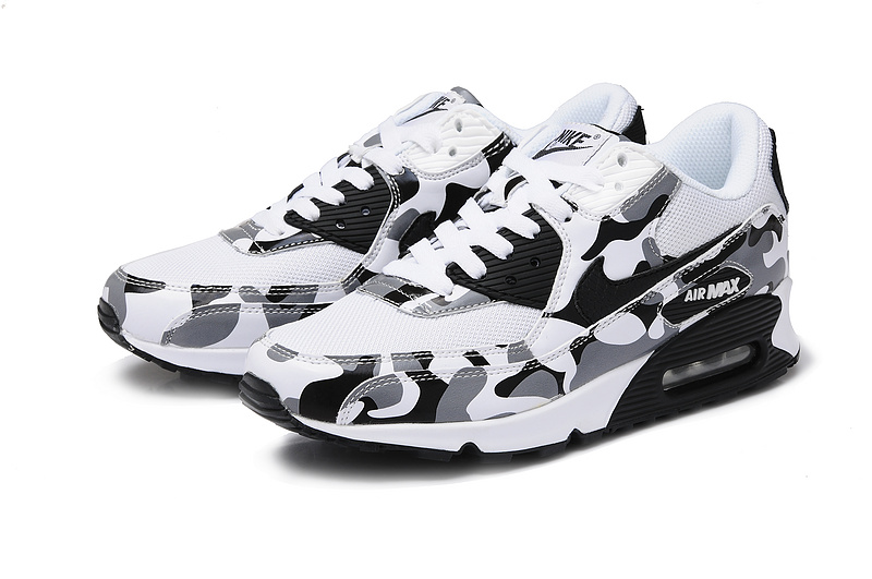 Nike Air Max 90 Camouflage Women White Black Grey Camouflage