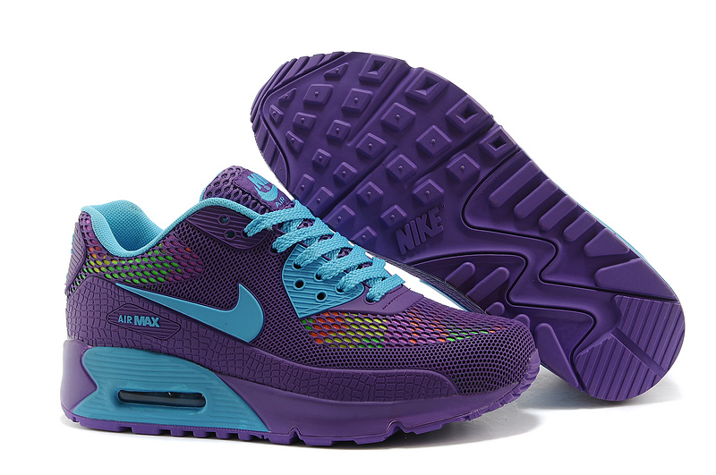 Nike Air Max 90 II Camouflage Women Purple Sea Blue Fluorescent