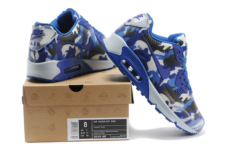 Cheap UK Nike Air Max 90 II Camouflage Men Blue White Chocolate