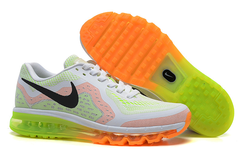 Nike Air Max 2014 Men White Orange red Fluorescent green UK
