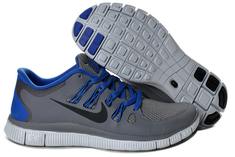 Mens Nike Free Run Gray 5.0+ deep RoyalBleu 5 + H296